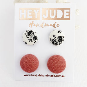 Fabric Button Stud Earrings-2 pack-White black floral + Raspberry Pink Linen-Hey Jude Handmade