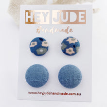 Load image into Gallery viewer, 2 pack-Fabric Button Stud Earrings-Light Blue Floral + Duck Egg Blue Linen-Hey Jude Handmade
