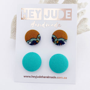 Stud Earrings-2 pack of fabric covered button studs-Mustard mint trim + Seafoam Green-Hey Jude Handmade