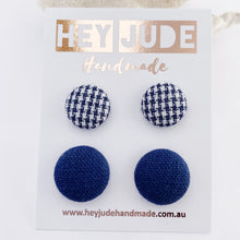 Load image into Gallery viewer, Fabric Stud Earrings-2 pack -Navy Houndstooth +Navy Linen-Hey Jude Handmade
