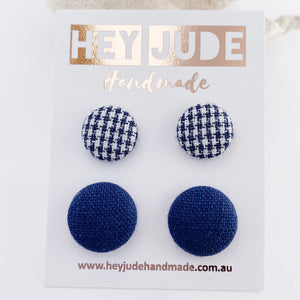 Fabric Stud Earrings-2 pack -Navy Houndstooth +Navy Linen-Hey Jude Handmade