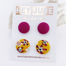 Load image into Gallery viewer, Fabric Stud Earrings-2 pack of small and medium fabric covered buttons-Plum + Mustard plum floral-Hey Jude Handmade