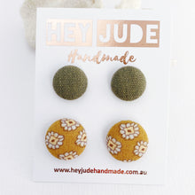 Load image into Gallery viewer, Fabric Stud Earrings-Multipack-2 pack-Small + Medium-Sage Linen + Mustard Pattern-Hey Jude Handmade