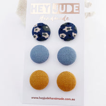 Load image into Gallery viewer, Fabric Button Stud Earrings-3 pack-Medium-Deep Teal Blue Floral, Duck Egg Blue Linen, Tikka Linen-Hey Jude Handmade