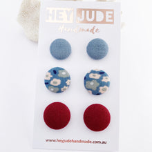 Load image into Gallery viewer, 3 pack Stud Earrings-fabric covered buttons-Duck Egg Blue Linen,Light Blue Floral, Maroon-Hey Jude Handmade