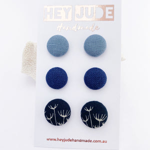 Fabric Button Studs Earrings-3 pack- small and medium-Duck Egg Blue Linen,Navy Linen, Navy Dandelion-Hey Jude Handmade