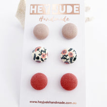 Load image into Gallery viewer, Small Fabric Button Stud Earrings-Multipack, 3 pack-Ice Pink, White Pink Floral-Dusky Rose Linen-Hey Jude Handmade