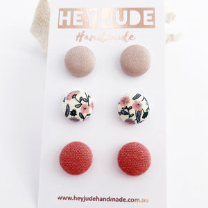 Small Fabric Button Stud Earrings-Multipack, 3 pack-Ice Pink, White Pink Floral-Dusky Rose Linen-Hey Jude Handmade