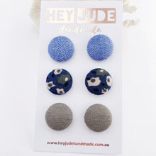 Load image into Gallery viewer, Fabric Stud Earrings-Medium-3 pack-Light Blue,Deep Teal Blue Floral, Grey Sage Linen-Hey Jude Handmade