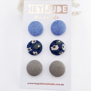 Fabric Stud Earrings-Medium-3 pack-Light Blue,Deep Teal Blue Floral, Grey Sage Linen-Hey Jude Handmade