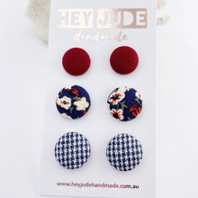 Load image into Gallery viewer, 3 pack Stud Earrings-Fabric covered button earrings-Maroon, Navy Floral, Navy Houndstooth-Hey Jude Handmade