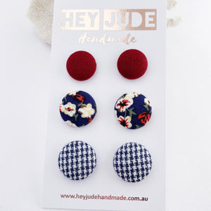 3 pack Stud Earrings-Fabric covered button earrings-Maroon, Navy Floral, Navy Houndstooth-Hey Jude Handmade