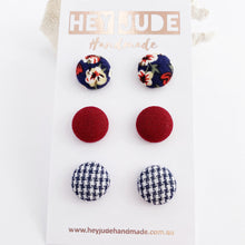 Load image into Gallery viewer, Small Fabric Button Stud Earrings-3 pack-Navy Floral, Maroon, Navy Houndstooth-Hey Jude Handmade