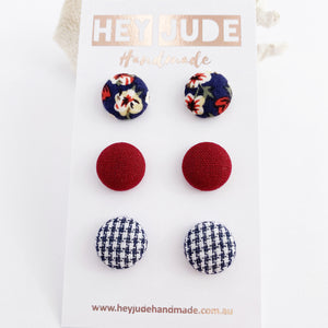 Small Fabric Button Stud Earrings-3 pack-Navy Floral, Maroon, Navy Houndstooth-Hey Jude Handmade