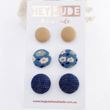 Load image into Gallery viewer, Multipack Fabric Stud Earrings-Asst small to medium-3 pack-Nude, Light Blue Floral, Dark Denim-Hey Jude Handmade