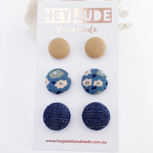 Multipack Fabric Stud Earrings-Asst small to medium-3 pack-Nude, Light Blue Floral, Dark Denim-Hey Jude Handmade