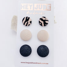 Load image into Gallery viewer, Fabric Button Stud Earrings-3 pack- small and mediums-Pink Zebbra, Blush Pink Leatherette, Black Sparkle-Hey Jude Handmade