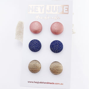 Fabric Stud Earrings-3 pack-Rose Gold Metallic, Royal Blue with silver sparkles, Textured Gold-Hey Jude Handmade