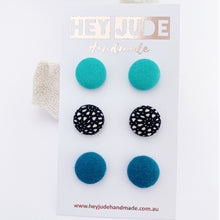 Load image into Gallery viewer, Fabric Button Stud Earrings-small-Seafoam Green,Black White Pattern,Teal Linen-Hey Jude Handmade