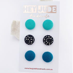 Fabric Button Stud Earrings-small-Seafoam Green,Black White Pattern,Teal Linen-Hey Jude Handmade