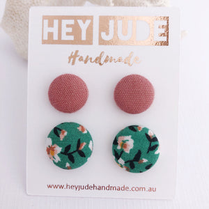 Stud Earrings-2 pack-Fabric Covered Buttons-Dusky Rose Linen and Green Summer Florals-Hey Jude Handmade