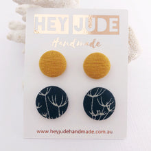Load image into Gallery viewer, Stud Earring 2 pack- Fabric Covered Button Studs-Mustard Yellow linen and Navy Dandelion Print-Hey Jude Handmade