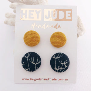 Stud Earring 2 pack- Fabric Covered Button Studs-Mustard Yellow linen and Navy Dandelion Print-Hey Jude Handmade