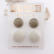 Load image into Gallery viewer, Fabric Stud Earrings-2 pack-Textured Gold fabric and Cream Gold Sparkles-Hey Jude Handmade