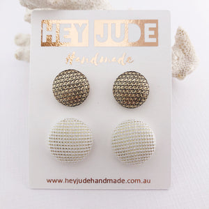 Fabric Stud Earrings-2 pack-Textured Gold fabric and Cream Gold Sparkles-Hey Jude Handmade