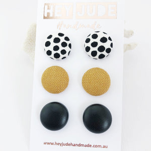 Fabric Stud Earrings-Multipack-3 pack-White black dots,Tikka Linen,Black Leatherette-Hey Jude Handmade