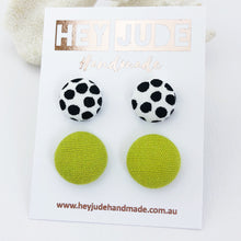Load image into Gallery viewer, Fabric Stud Earrings-2 pack-White black dots and Chartreuse Linen-Hey Jude Handmade