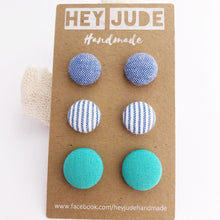 Load image into Gallery viewer, Stud Earrings-Fabric Buttons-3 pack-Light Blue, Light Denim Blue Stripes, Sea Foam Green-Hey Jude Handmade