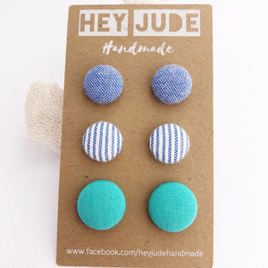 Stud Earrings-Fabric Buttons-3 pack-Light Blue, Light Denim Blue Stripes, Sea Foam Green-Hey Jude Handmade