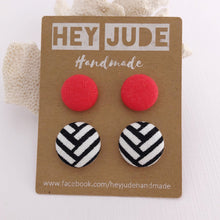 Load image into Gallery viewer, Fabric Stud Earrings-2 pack-Neon Coral + Black White Geometric-Hey Jude Handmade