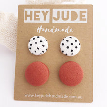Load image into Gallery viewer, Stud Earring 2 pack-Fabric Buttons-White Black Dots and Cinnamon-Hey Jude Handmade