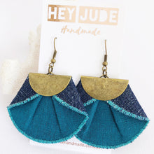 Load image into Gallery viewer, Pleated Fan Dangle Earrings-Teal linen and dark denim reverse-Hey Jude Handmade