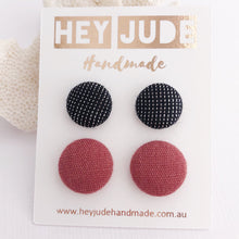 Load image into Gallery viewer, 2 pack-Fabric Covered Stud Earrings-Black Sparkle and Raspberry Pink Linen-Hey Jude Handmade