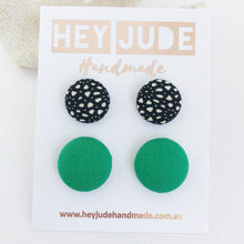 Load image into Gallery viewer, Fabric Stud Earrings-2 pack-Black White Pattern and Vivid Green-Hypoallergenic-Hey Jude Handmade