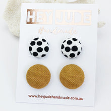 Load image into Gallery viewer, Fabric Button Stud Earrings-2 pack-White with black dots and Tikka linen-Hey Jude Handmade
