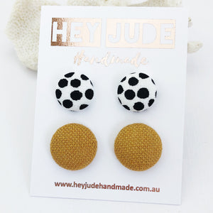Fabric Button Stud Earrings-2 pack-White with black dots and Tikka linen-Hey Jude Handmade