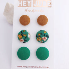 Load image into Gallery viewer, Stud Earrings-Multipack-3 pack-Fabric Buttons-Saffron Linen, Green Summer Floral and Green-Hey Jude Handmade