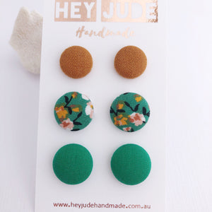 Stud Earrings-Multipack-3 pack-Fabric Buttons-Saffron Linen, Green Summer Floral and Green-Hey Jude Handmade