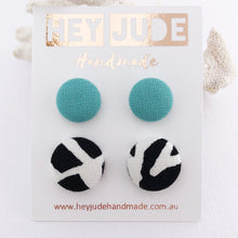 Load image into Gallery viewer, Fabric Stud Earring-Fabric Button-2 pack-Mint and Black White Abstract print-Hey Jude Handmade
