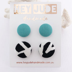 Fabric Stud Earring-Fabric Button-2 pack-Mint and Black White Abstract print-Hey Jude Handmade