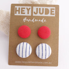 Load image into Gallery viewer, Stud Earrings-Fabric Buttons-2 pack-Neon Coral and White thin blue pin stripe-Hey Jude Handmade