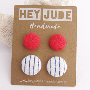 Stud Earrings-Fabric Buttons-2 pack-Neon Coral and White thin blue pin stripe-Hey Jude Handmade