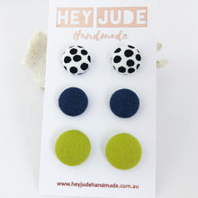 Load image into Gallery viewer, Stud Earrings-Fabric Covered Buttons-White black dots, Navy linen, Chartreuse Linen-Hey Jude Handmade