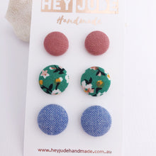 Load image into Gallery viewer, Fabric Stud Earrings-3 pack-Dusky Rose Linen, Green Summer Florals, Light Blue-Hey Jude Handmade