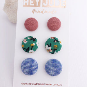 Fabric Stud Earrings-3 pack-Dusky Rose Linen, Green Summer Florals, Light Blue-Hey Jude Handmade