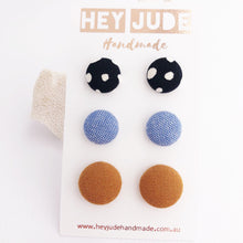 Load image into Gallery viewer, Stud Earring Multipack-3pack-Fabric Button-Black White Spots, Light Blue, Saffron Linen-Hey Jude Handmade